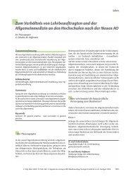 Zum Verhältnis von Lehrbeauftragten und der Allgemeinmedizin an ...