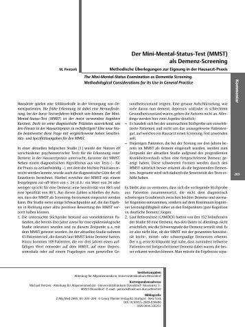 Der Mini-Mental-Status-Test (MMST) als Demenz-Screening