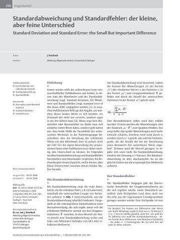 Standardabweichung und Standardfehler: der kleine, aber feine ...