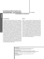 Geschlechtsspezifische Aspekte in der Pharmakotherapie – was ist ...