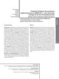 Evaluation komplexer Interventionen: Implementierung von ARRIBA ...