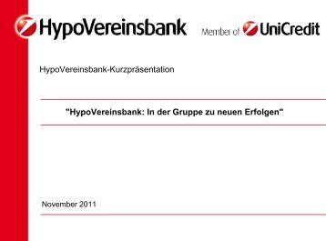HypoVereinsbank: In der Gruppe zu neuen Erfolgen - Familie