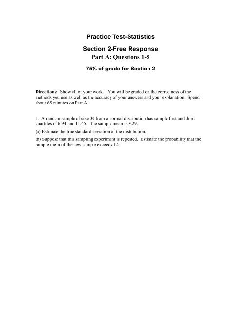 Practice Test-Statistics Section 2-Free Response Part A