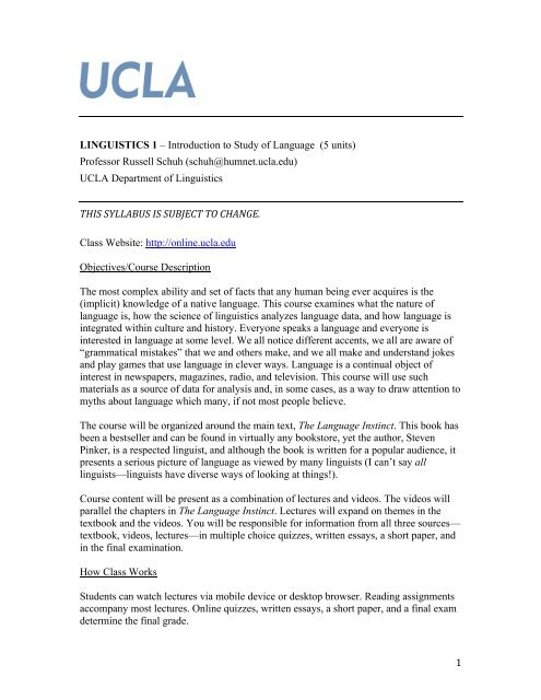 course syllabus - UCLA Summer Sessions Online Courses