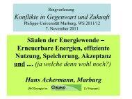 Säulen der Energiewende - Philipps-Universität Marburg