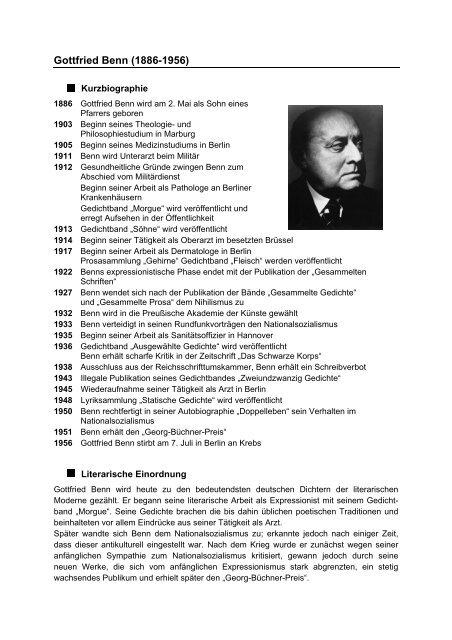 Gottfried Benn 1886 1956 Deutschstundeinfo