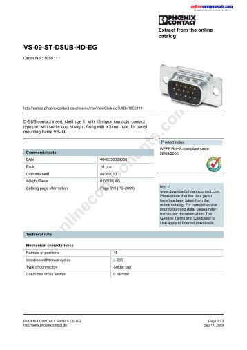 VS-09-ST-DSUB-HD-EG - Onlinecomponents.com
