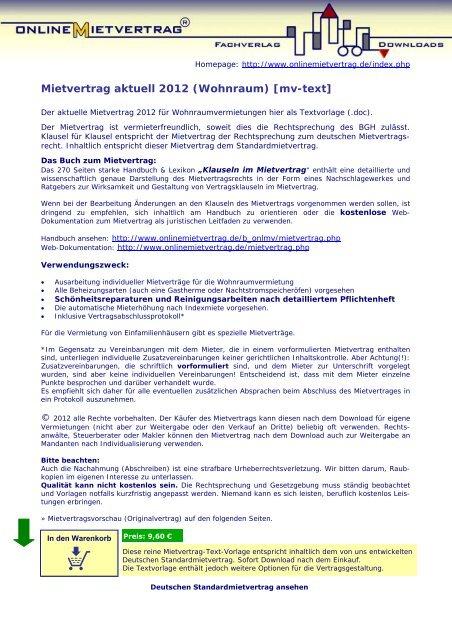 Mietvertrag aktuell 2012 f r wohnr ume onlinemietvertrag for Farbbeispiele fur wohnraume
