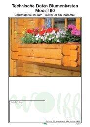 Technische Daten Blumenkasten Modell 90 - onlineshop-baumarkt
