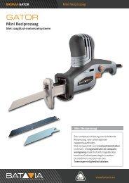 Product Info GATOR Mini-Reciprozaag