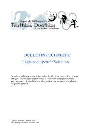 BULLETIN TECHNIQUE Règlement sportif / Sélection - OnlineTri.com