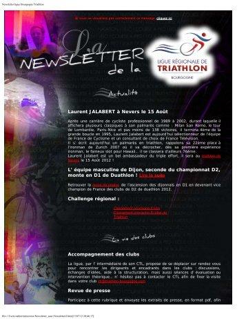 Newsletter ligue Bourgogne Triathlon - OnlineTri.com