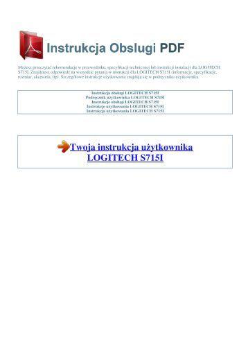 Instrukcja obsługi LOGITECH S715I