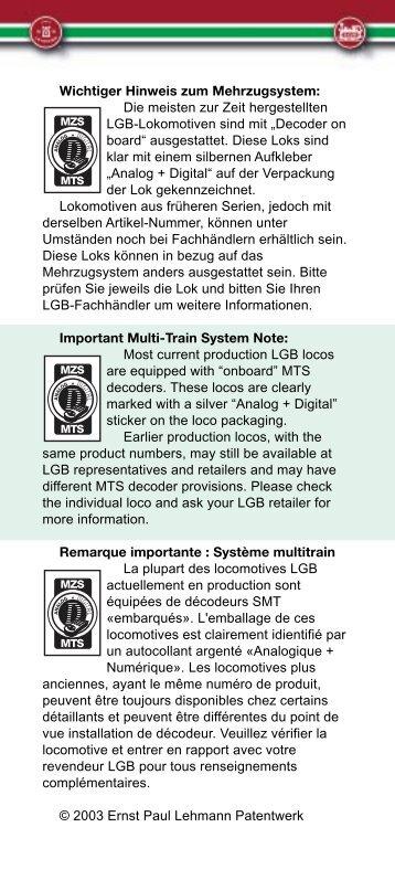 Wichtiger Hinweis zum Mehrzugsystem: Die meisten zur ... - Massoth