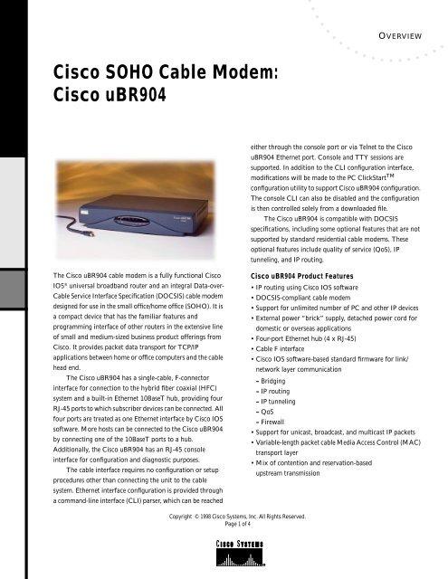 Cisco SOHO Cable Modem: Cisco uBR904 - Ono