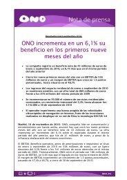ONO incrementa en un 6,1% su beneficio en los primeros nueve ...