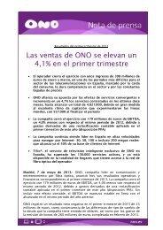 Las ventas de ONO se elevan un 4,1% en el primer trimestre