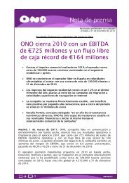 ONO cierra 2010 con un EBITDA de €725 millones y un flujo libre de ...