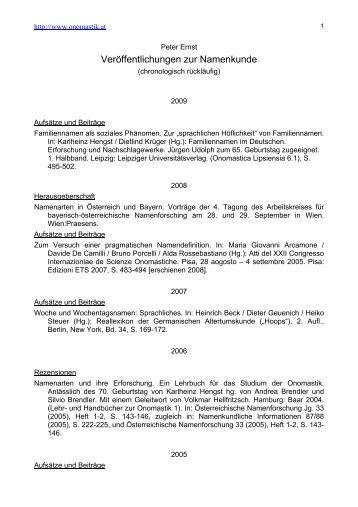 Veröffentlichungen zur Namenkunde - Onomastik.at