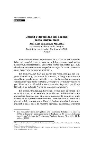 Unidad y diversidad del español como lengua meta - Onomázein