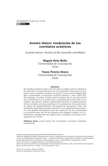 Acento léxico: tendencias de los correlatos acústicos - Onomázein