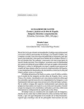 """Guillermo de Santis: """"Cosmos y justicia en la obra de ... - Onomázein"""
