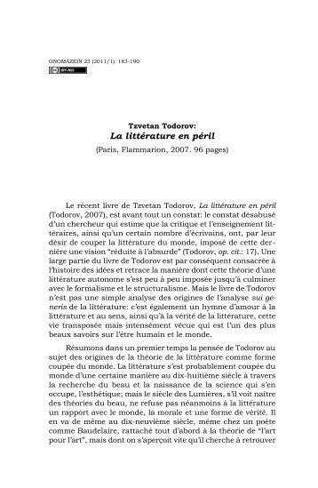 Tzvetan Todorov: La littérature en péril - Onomázein