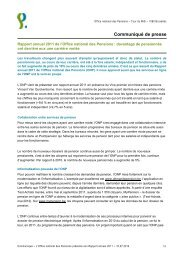 Rapport annuel 2011 de l'Office national des Pensions - ONP