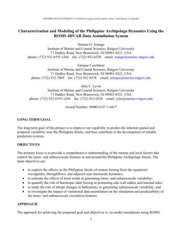 10: Characterization and Modeling of the Philippine Archipelago ...