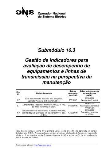 Submódulo 16.3 Gestão de indicadores para avaliação de ... - ONS
