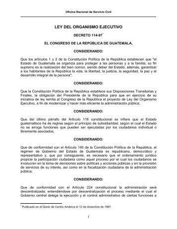 LEY ORGANICA DEL ORGANISMO EJECUTIVO - onsec