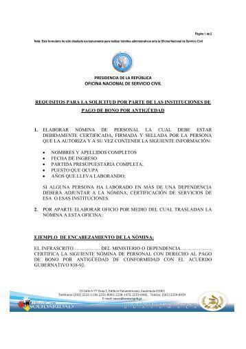 oficina nacional de servicio civil requisitos para la solicitud ... - onsec