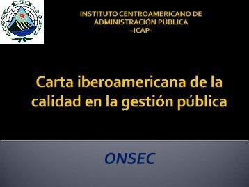 Carta iberoamericana de la calidad en la gestión pública - onsec