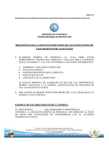 oficina nacional de servicio civil requisitos para la solicitud ... - onsec