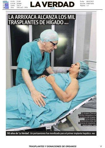 8 Marzo 1000 Tx H Arrixaca - Organización Nacional de Trasplantes