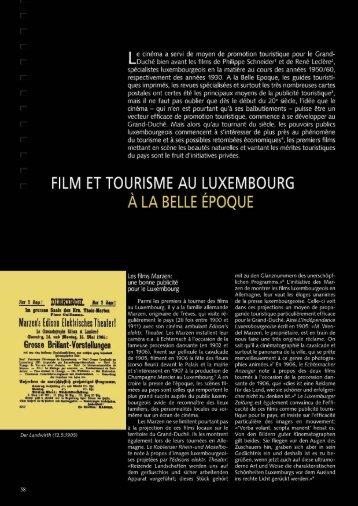 FILM ET TOURISME AU LUXEMBOURG à LA BELLE ... - Ons Stad
