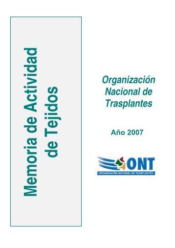 Memoria_Tejidos_2007 - Organización Nacional de Trasplantes