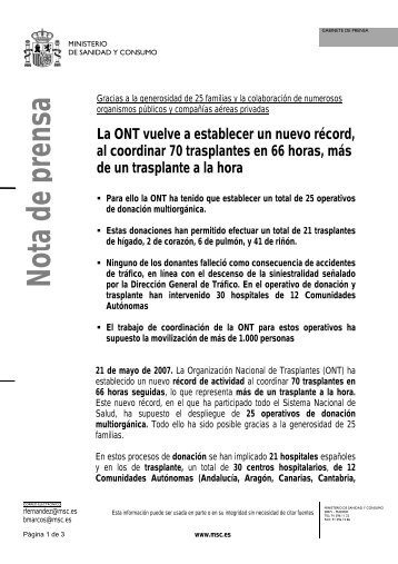 RecordTrasplantes - Organización Nacional de Trasplantes