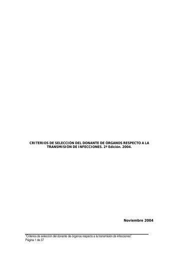 infecciondonante - Organización Nacional de Trasplantes