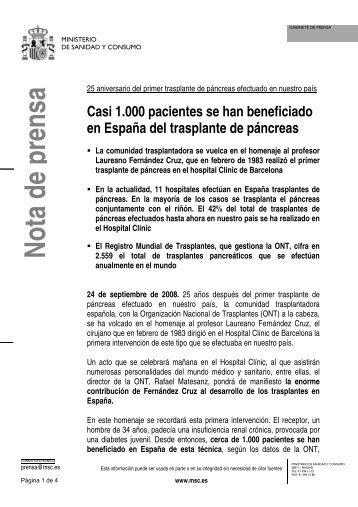 ONTNota25aTxpancreas - Organización Nacional de Trasplantes