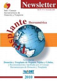 Newsletter RCIDT 2010 - Organización Nacional de Trasplantes