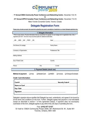 Delegate Registration Form - OSEA
