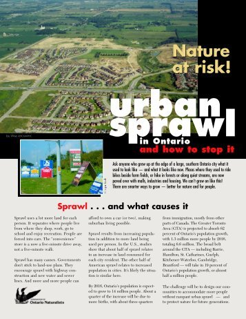 Urban Sprawl - Ontario Nature