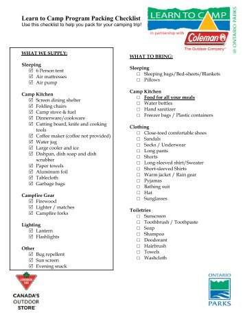 Sample Camping Checklist  Pack  Home Page