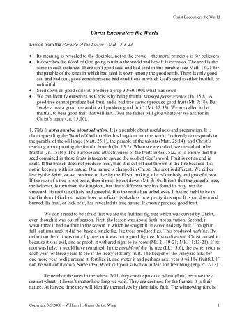 parable research paper Parables of jesus christ research papers illustrate that in the teachings of jesus, he made use of parables to show lessons research papers online should be custom.