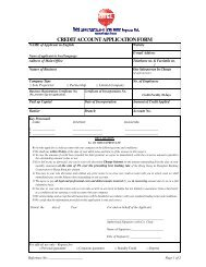 CREDIT ACCOUNT APPLICATION FORM - On Time Express Ltd.