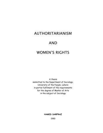 AUTHORITARIANISM AND WOMEN'S RIGHTS - OoCities