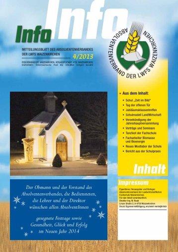 Absolventenzeitung Info 4/2013 - Landwirtschaftliche Berufs- und ...