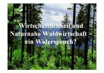 Wirtschaftlichkeit und Naturnahe Waldwirtschaft – ein Widerspruch?