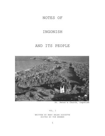 Names for Notes of Ingonish and Its People Vol. I - OoCities